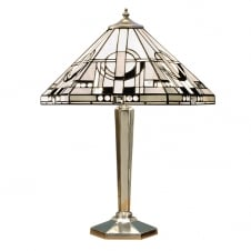 Art Deco Tiffany Table Lamp with Polished Aluminium Base