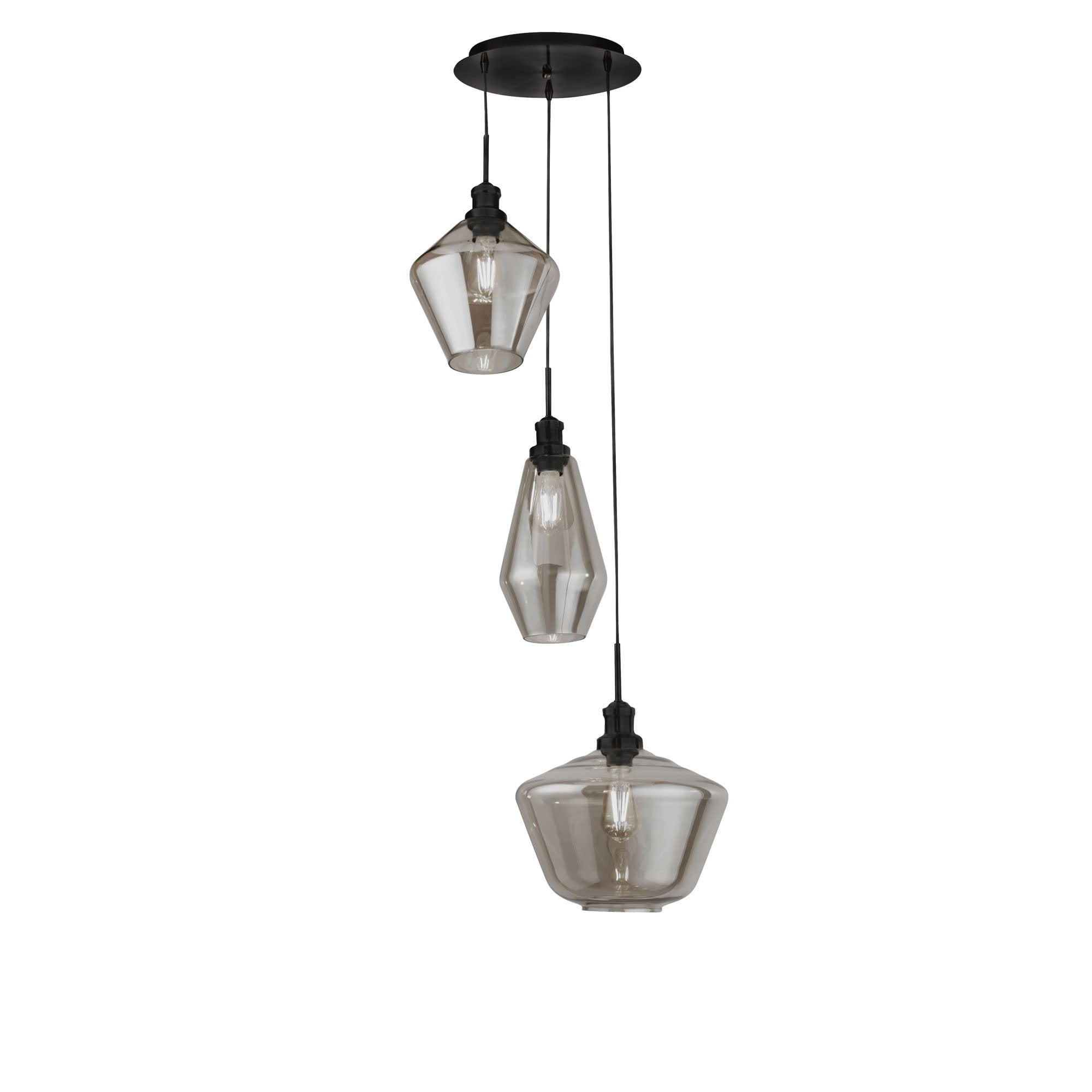 3 Light Multi Drop Ceiling Pendant With 3 Styles Of Smoked Glass