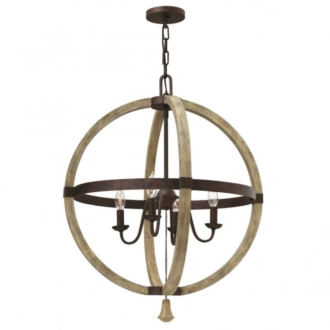 large decorative globe ceiling chandelier in rust iron wood finish