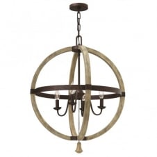 MIDDLEFIELD rustic design 4 light chandelier in iron rust & distressed wood finish