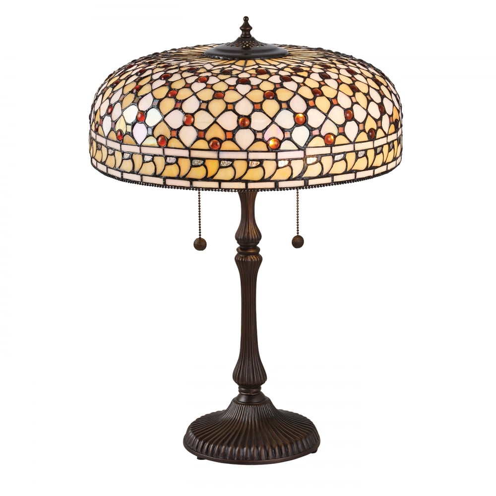 Interiors 1900 mille feux large tiffany table lamp cream and amber