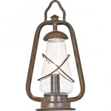 MINERS outdoor pedestal lantern, wrought iron with old bronze finish