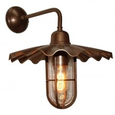 industrial bronze well glass wall light with cage frame
