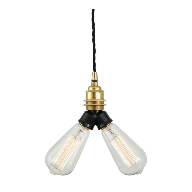 ARRIS industrial twin bulb ceiling pendant in polished brass