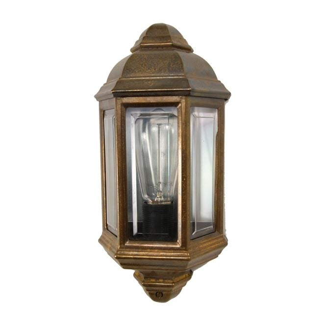 BRENT traditional exterior wall lantern in brass finish