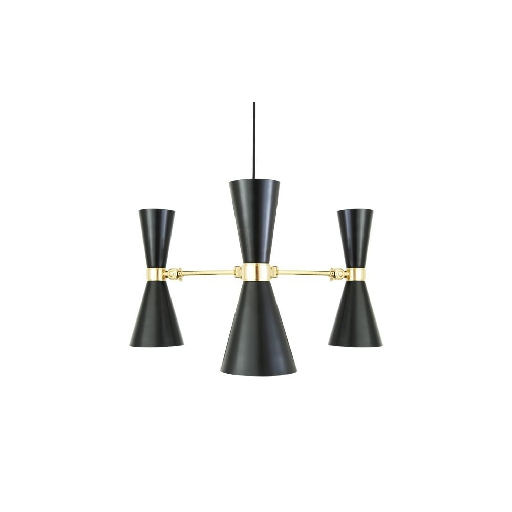 Contemporary polished brass and black 3 light chandelier 3 light black and polished brass chandelier aloadofball Images