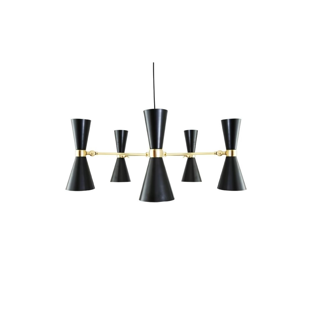 Contemporary Brass 5 Light Chandelier With Black Shades
