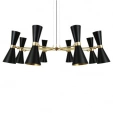 contemporary brass 8 light chandelier with black shades