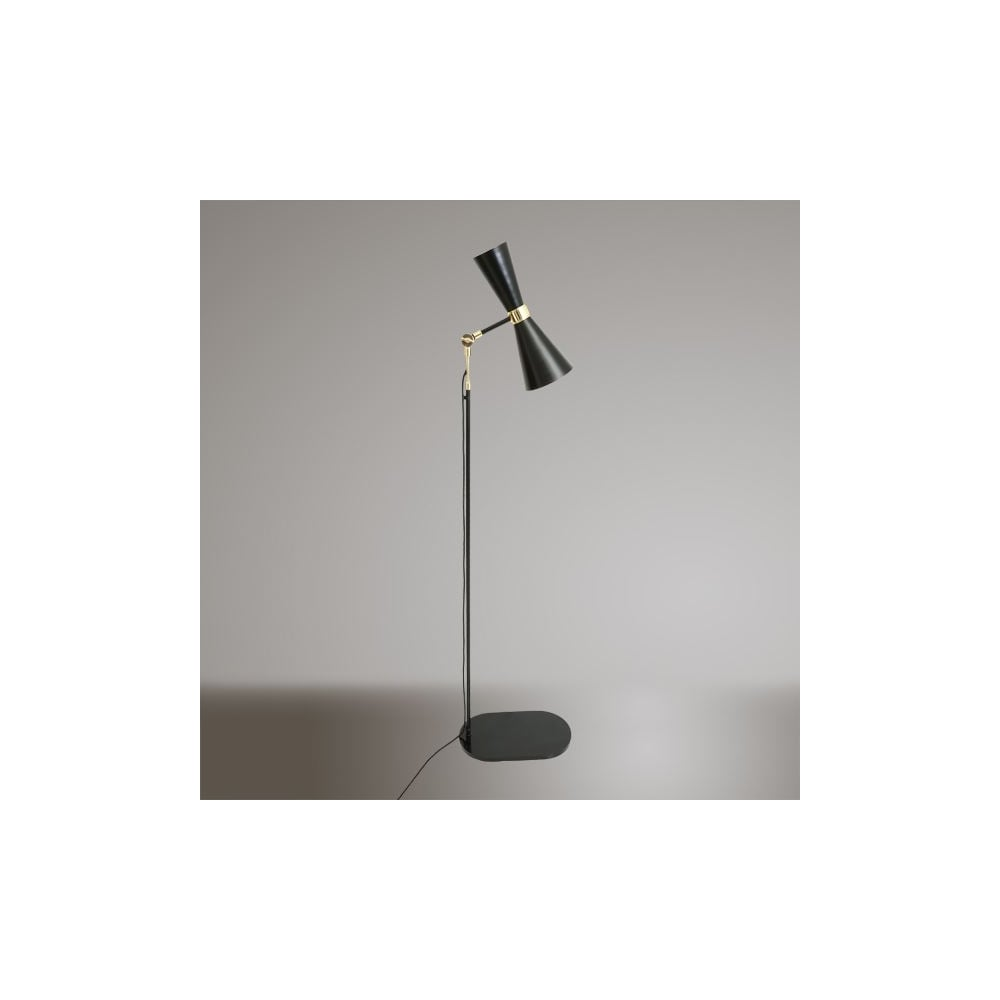 Contemporary Polished Brass And Powder Coated Black Floor Lamp