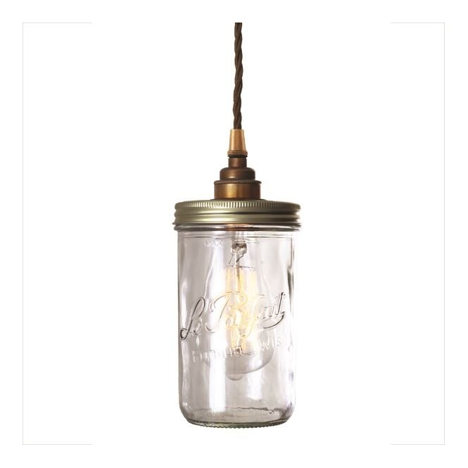 JAM JAR single glass ceiling pendant with antique brass suspension