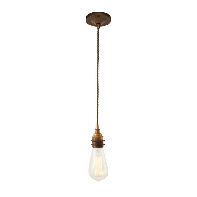 Monaghan Lighting LOME vintage braided suspension pendant light in antique brass