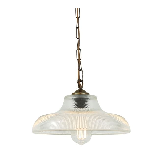 LONDON 30cm prismatic glass railway pendant with antique brass suspension