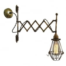 industrial scissor arm antique brass wall light