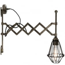 industrial scissor arm antique silver wall light