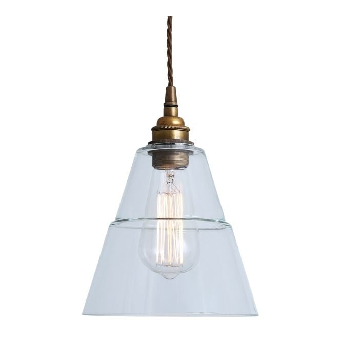 Monaghan Lighting LYX Clear Glass Pendant Light in Antique Brass