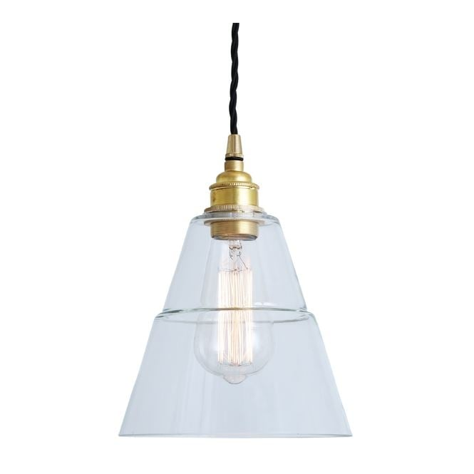 Monaghan Lighting LYX Clear Glass Pendant Light in Polished Brass