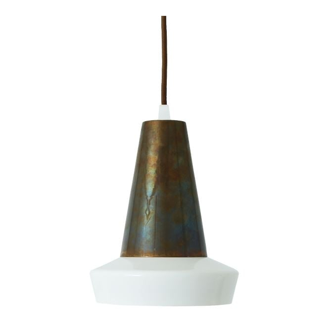 Monaghan Lighting MALABO industrial style antique brass and white ceiling pendant