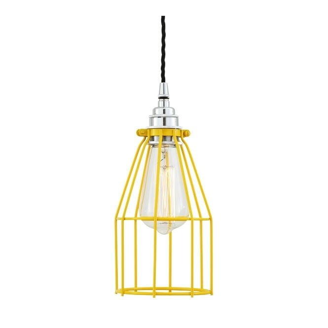 Monaghan Lighting RAZE Cage Pendant Light in Powder Coated Yellow