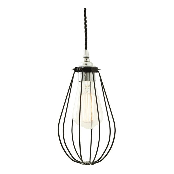 VOX Vintage Cage Pendant Light in Powder Coated Black