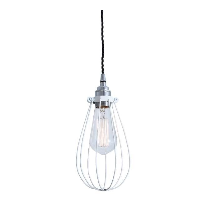Monaghan Lighting VOX Vintage Cage Pendant Light in Powder Coated White