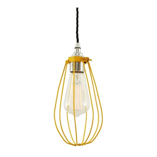 Monaghan Lighting VOX Vintage Cage Pendant Light in Powder Coated Yellow