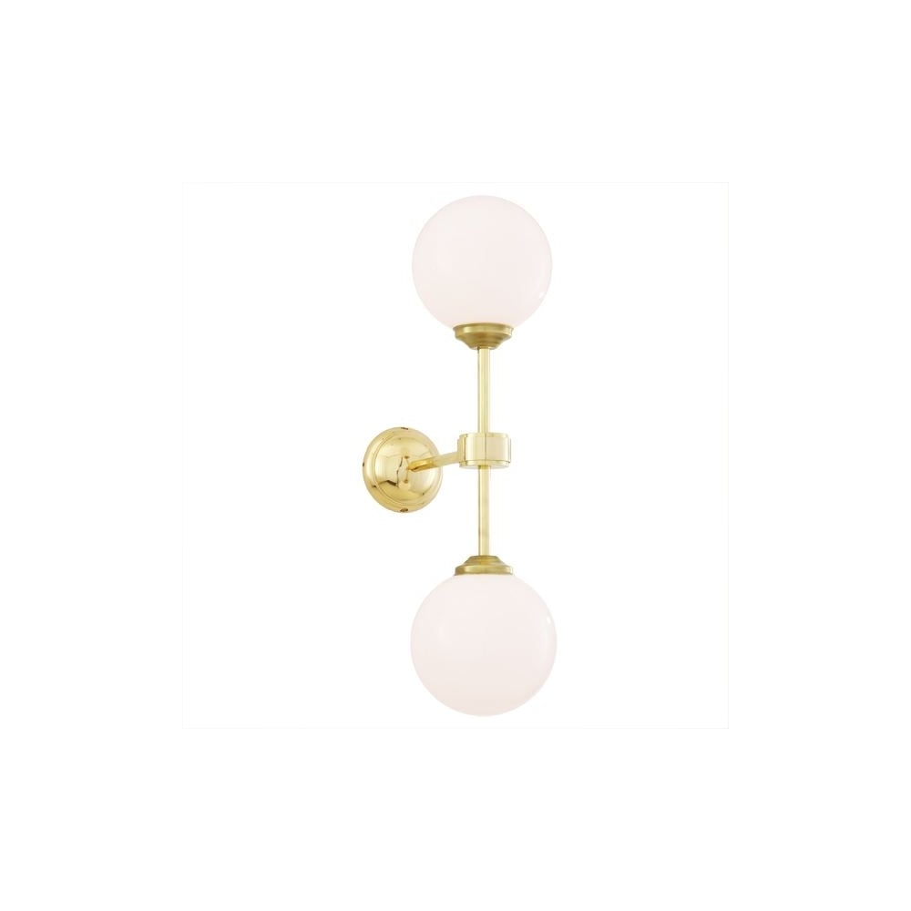 Polished brass twin wall light with opal glass globe shades twin polished brass wall light with opal glass globes aloadofball Choice Image