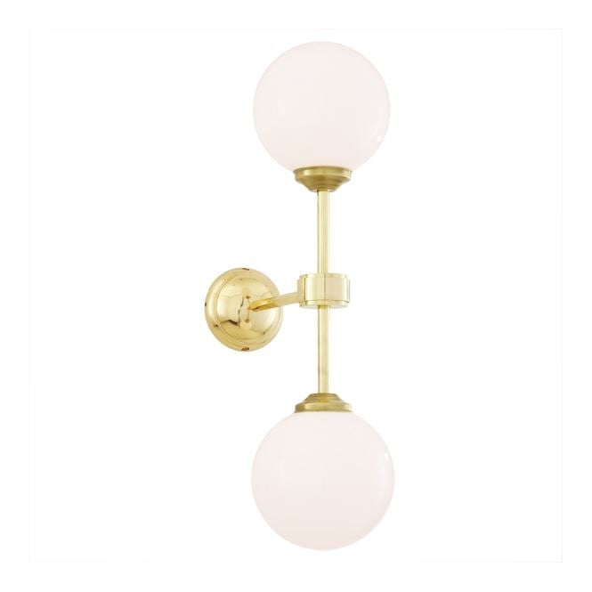 YAOUNDE twin polished brass wall light with opal glass globes