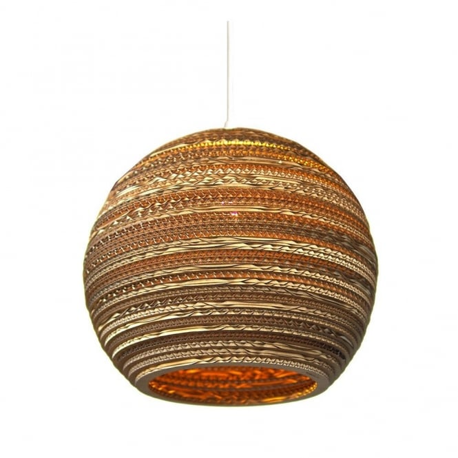 Moon Recycled Cardboard Ceiling Pendant Light With Long Drop