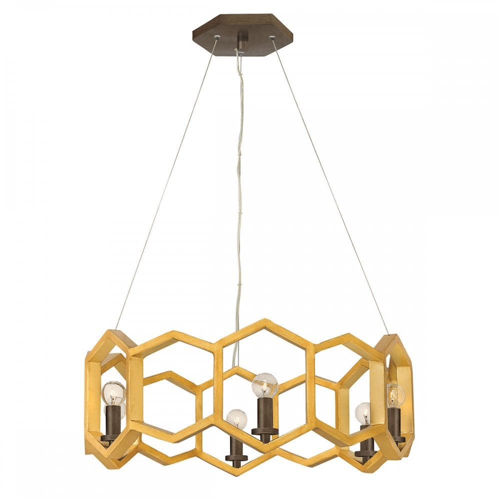 MOXIE 6 light geometric chandelier in sunset gold finish