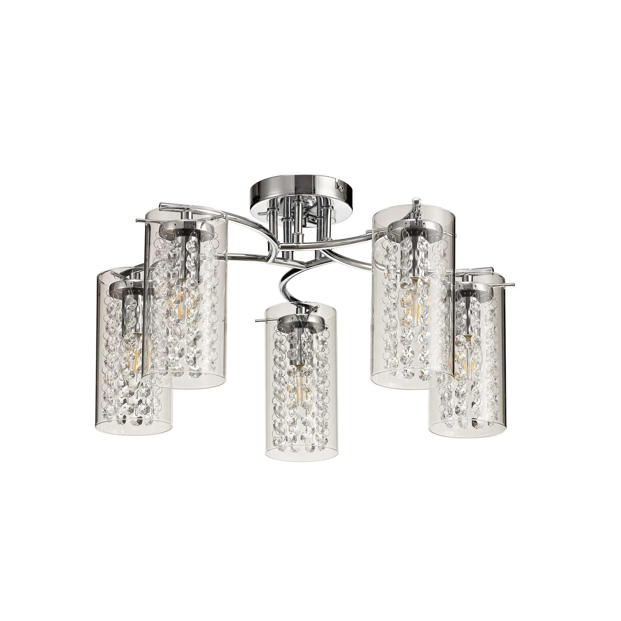 5 Light Modern Semi Flush Ceiling Light In Chrome With Crystal Glass