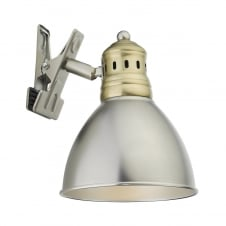 clip on antique chrome and brass spot light