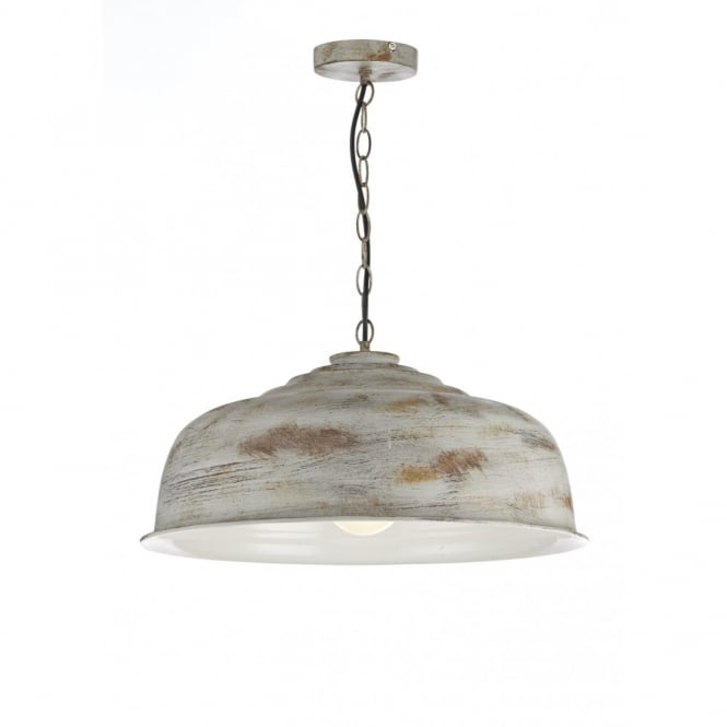 retro ceiling pendant in an aged metal finish double insulated
