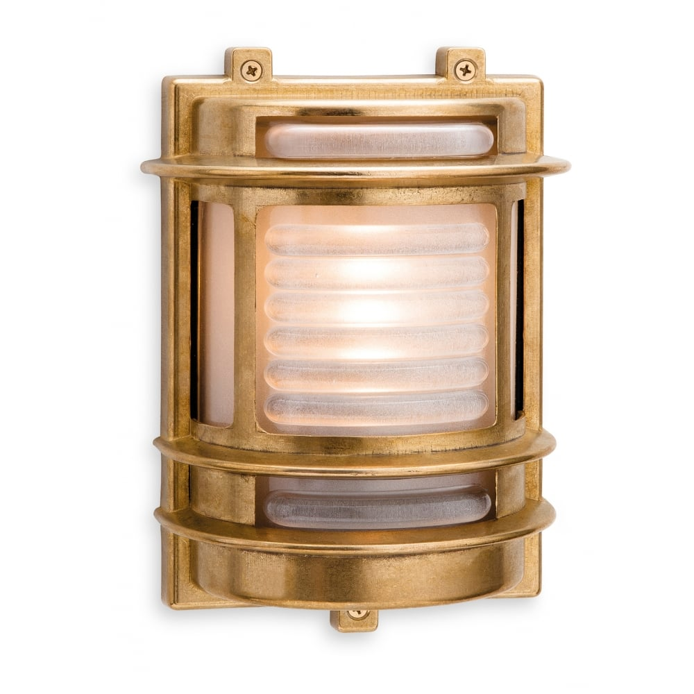 Industrial coastal style outdoor wall light in brass w frosted glass industrial coastal style outdoor wall light in brass aloadofball Image collections