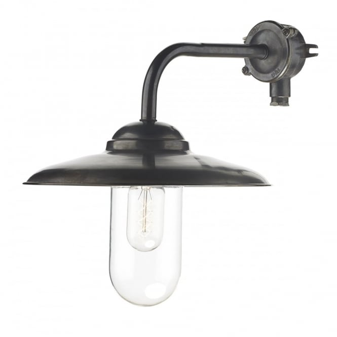NAUTILUS old iron outdoor wall light with glass tube shade