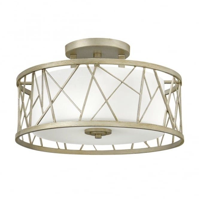 NEST contemporary semi flush ceiling light in silver leaf finish with etched glass inner shade