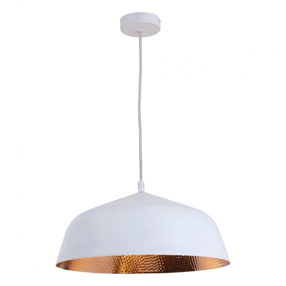 timeless design d5df4 ccf9f NEVE single matte white ceiling pendant with copper inner