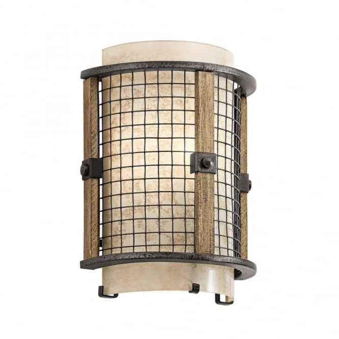 New York Lighting Collection AHRENDALE rustic anvil iron and wood wall light with mesh surround
