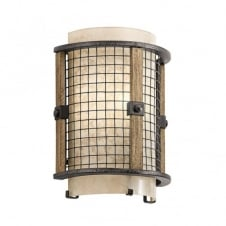 rustic design wall light in wood and iron finish with mesh shade