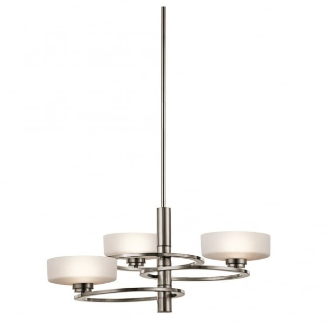 New York Lighting Collection ALEEKA contemporary geometric ring design 3lt chandelier in pewter finish with opal glass shades