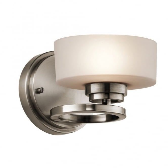 New York Lighting Collection ALEEKA contemporary geometric ring design wall light in pewter finish with opal glass shade