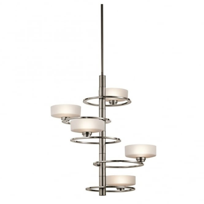 New York Lighting Collection ALEEKA modern geometric ring design 5lt chandelier in pewter finish with opal glass shades (tall)