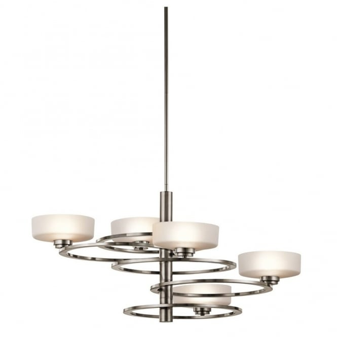 New York Lighting Collection ALEEKA modern geometric ring design 5lt chandelier in pewter finish with opal glass shades (wide)