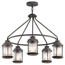 traditional 5 light outdoor chandelier in weathered zinc