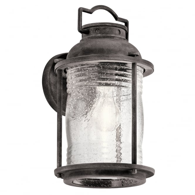 ASHLAND BAY exterior wall lantern in weathered zinc with clear seeded glass (medium)