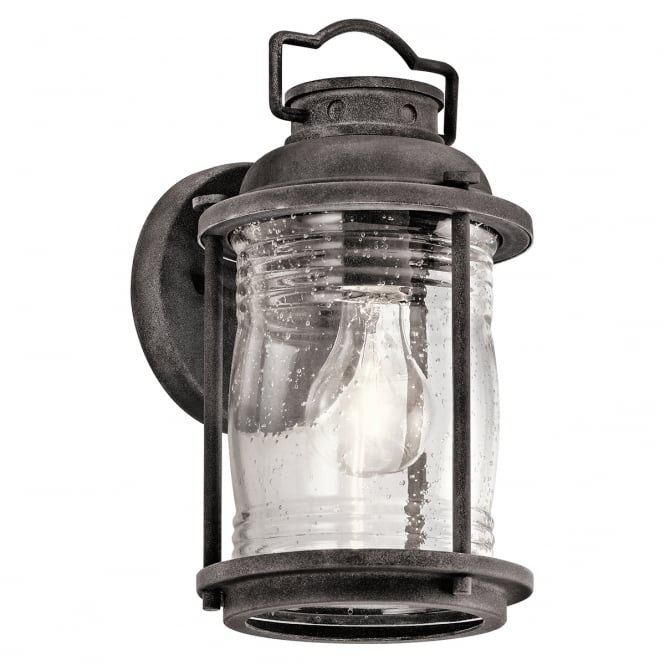 ASHLAND BAY exterior wall lantern in weathered zinc with clear seeded glass (small)