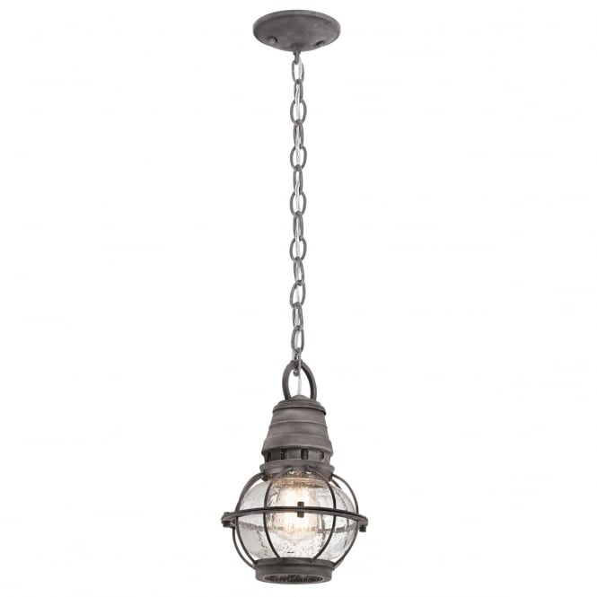New York Lighting Collection BRIDGE POINT classic exterior hanging lantern in weathered zinc