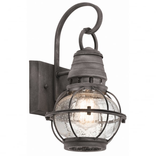 BRIDGE POINT classic exterior wall lantern in weathered zinc (small)