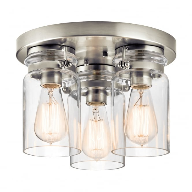 New York Lighting Collection BRINLEY 3 light flush ceiling light in brushed nickel with clear glass shades