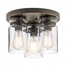 3 Light Semi Flush Old Bronze Ceiling Light with Glass Shades
