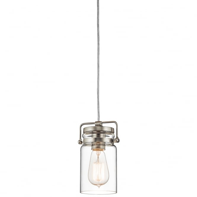 BRINLEY mini ceiling pendant in nickel with clear glass